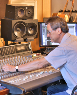 nigel pegrum at his mixing desk, image